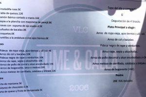 Carta - Come & Calla Valencia